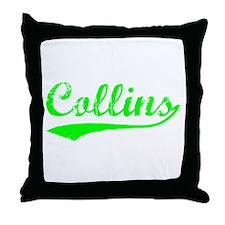 Vintage Collins (Green) Throw Pillow