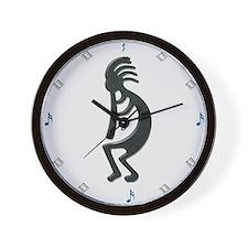 Kokopeli Silver Wall Clock