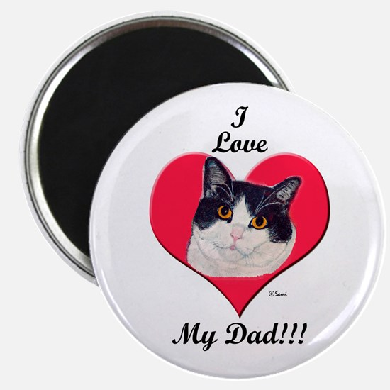 Black & White Cat Father's Day Magnet