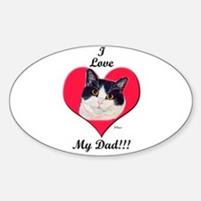 Black & White Cat Father's Day Oval Decal