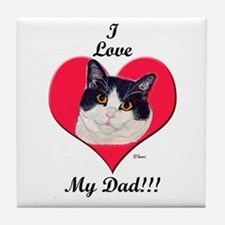 Black & White Cat Father's Day Tile Coaster