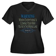 Wrong Lane Women's Plus Size V-Neck Dark T-Shirt