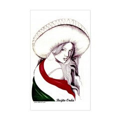 MEXICAN FLAG CHARRA Rectangle Decal