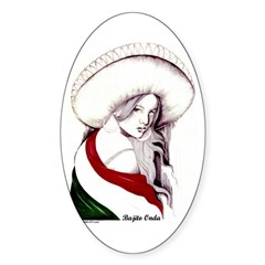 MEXICAN FLAG CHARRA Oval Decal