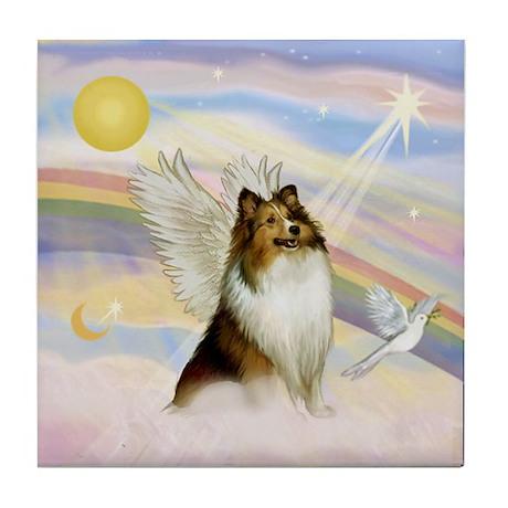 Sable Sheltie Angel Tile Coaster
