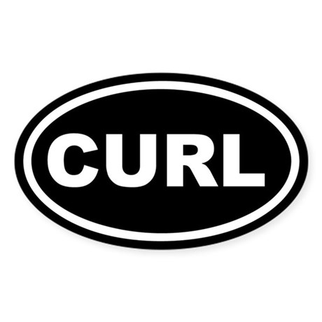 CURL Curling Black Euro Oval Sticker