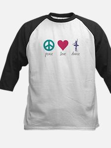 Peace, Love & Dance Kids Baseball Jersey