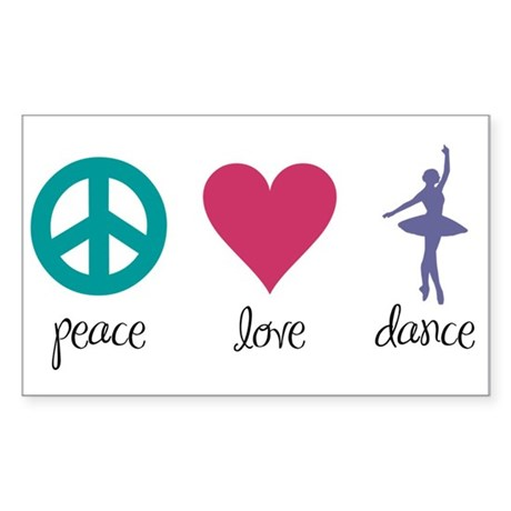 Peace, Love & Dance Rectangle Sticker
