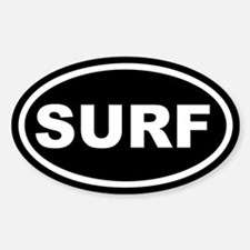 SURF Surfing Black Euro Oval Decal