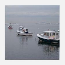 Moared Maine Lobster Boats Tile Coaster