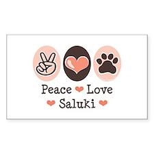 Peace Love Saluki Rectangle Decal