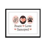 Peace Love Samoyed Framed Panel Print