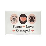 Peace Love Samoyed Rectangle Magnet (10 pack)