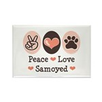 Peace Love Samoyed Rectangle Magnet (100 pack)