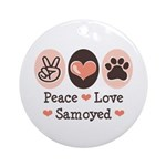 Peace Love Samoyed Ornament (Round)