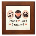 Peace Love Samoyed Framed Tile