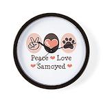 Peace Love Samoyed Wall Clock