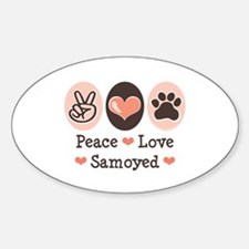 Peace Love Samoyed Oval Decal