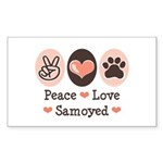 Peace Love Samoyed Rectangle Sticker