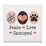 Peace Love Samoyed Tile Coaster
