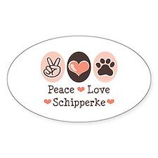 Peace Love Schipperke Oval Decal