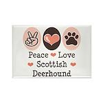 Peace Love Scottish Deerhound Rectangle Magnet