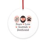 Peace Love Scottish Deerhound Ornament (Round)