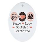 Peace Love Scottish Deerhound Oval Ornament