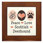 Peace Love Scottish Deerhound Framed Tile