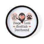 Peace Love Scottish Deerhound Wall Clock