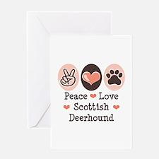 Peace Love Scottish Deerhound Greeting Card