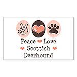 Peace Love Scottish Deerhound Sticker (Rectangular