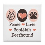 Peace Love Scottish Deerhound Tile Coaster