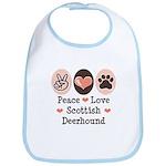 Peace Love Scottish Deerhound Bib