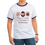 Peace Love Scottish Deerhound Ringer T
