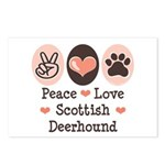 Peace Love Scottish Deerhound Postcards (Package o