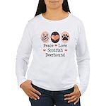 Peace Love Scottish Deerhound Women's Long Sleeve