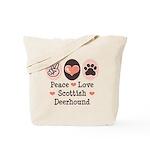 Peace Love Scottish Deerhound Tote Bag