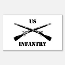 Infantry Branch Insignia (3a) Sticker (Rectangular