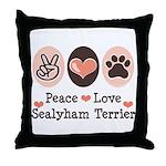 Peace Love Sealyham Terrier Throw Pillow