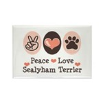 Peace Love Sealyham Terrier Rectangle Magnet (10 p