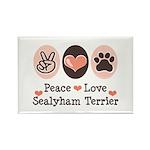 Peace Love Sealyham Terrier Rectangle Magnet (100