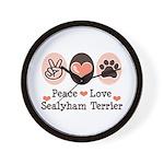 Peace Love Sealyham Terrier Wall Clock