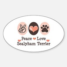 Peace Love Sealyham Terrier Oval Decal