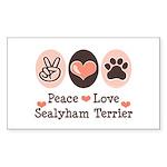 Peace Love Sealyham Terrier Rectangle Sticker