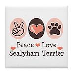 Peace Love Sealyham Terrier Tile Coaster