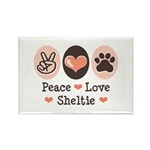 Peace Love Sheltie Rectangle Magnet (100 pack)