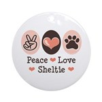 Peace Love Sheltie Ornament (Round)