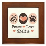 Peace Love Sheltie Framed Tile