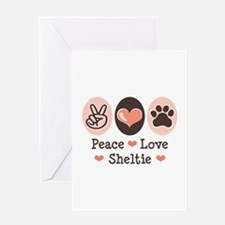 Peace Love Sheltie Greeting Card